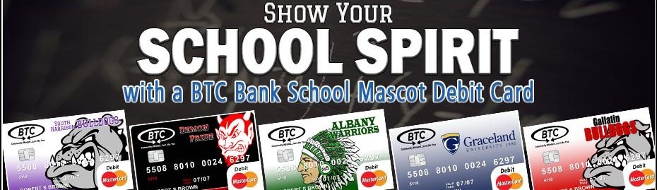 BTC Bank school mascot debit card banner